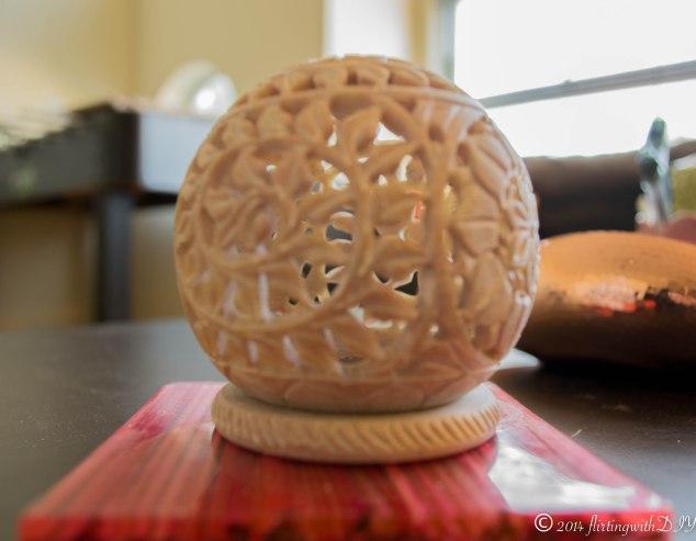 bone carved tea light holder detail carving