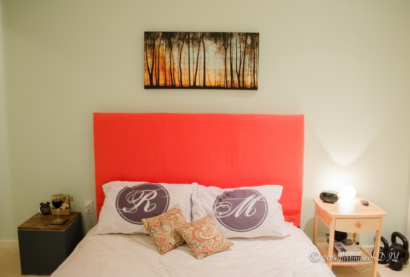 Coral Headboard bedroom mint wall