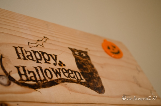 Happy halloween 2014 wood burned sign